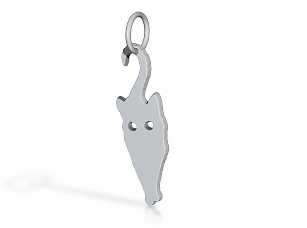 Curious Cat  pendant sterling silver handmade by saw piercing